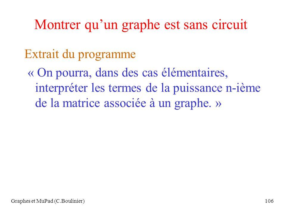 Montrer qu'un graphe est sans circuit