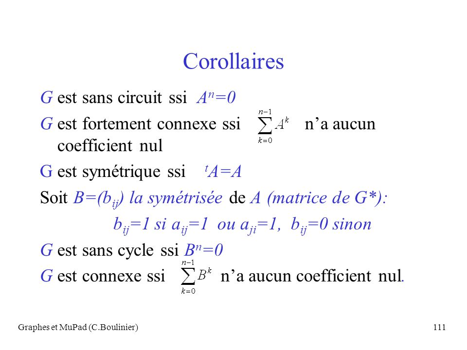 Corollaires G est sans circuit ssi An=0