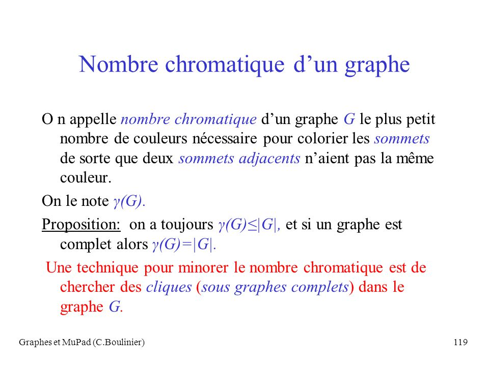 Nombre chromatique d'un graphe