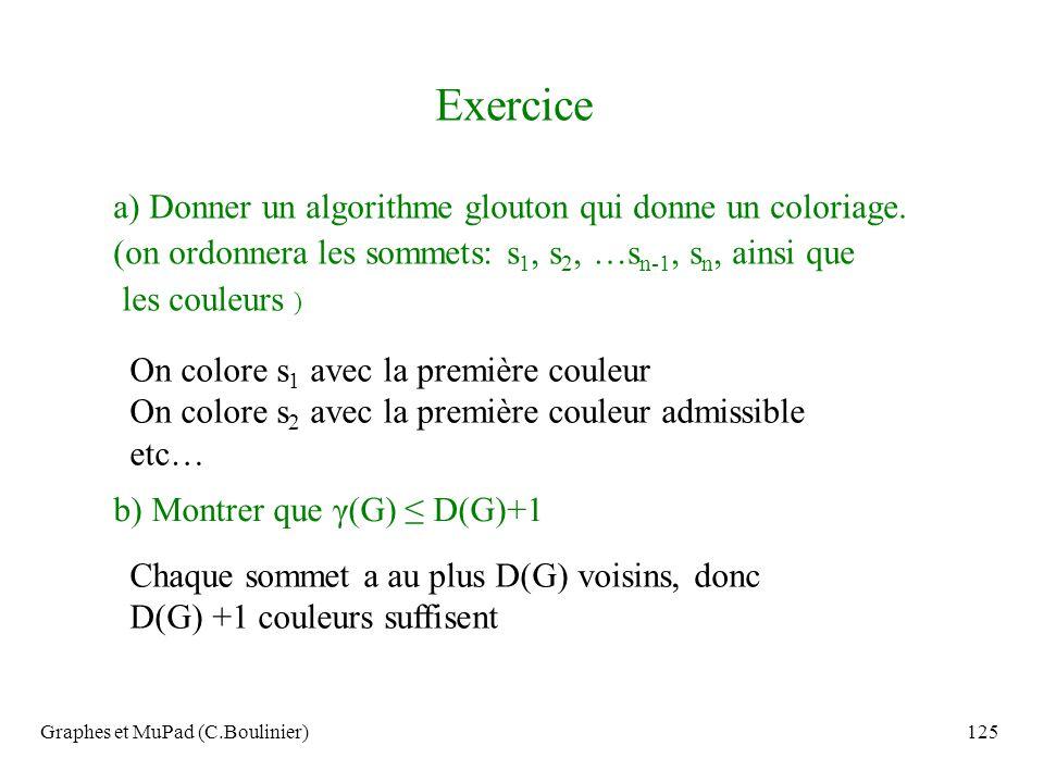 Exercice a) Donner un algorithme glouton qui donne un coloriage.