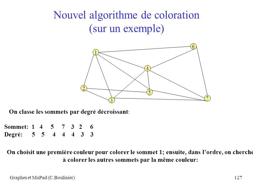 Nouvel algorithme de coloration (sur un exemple)