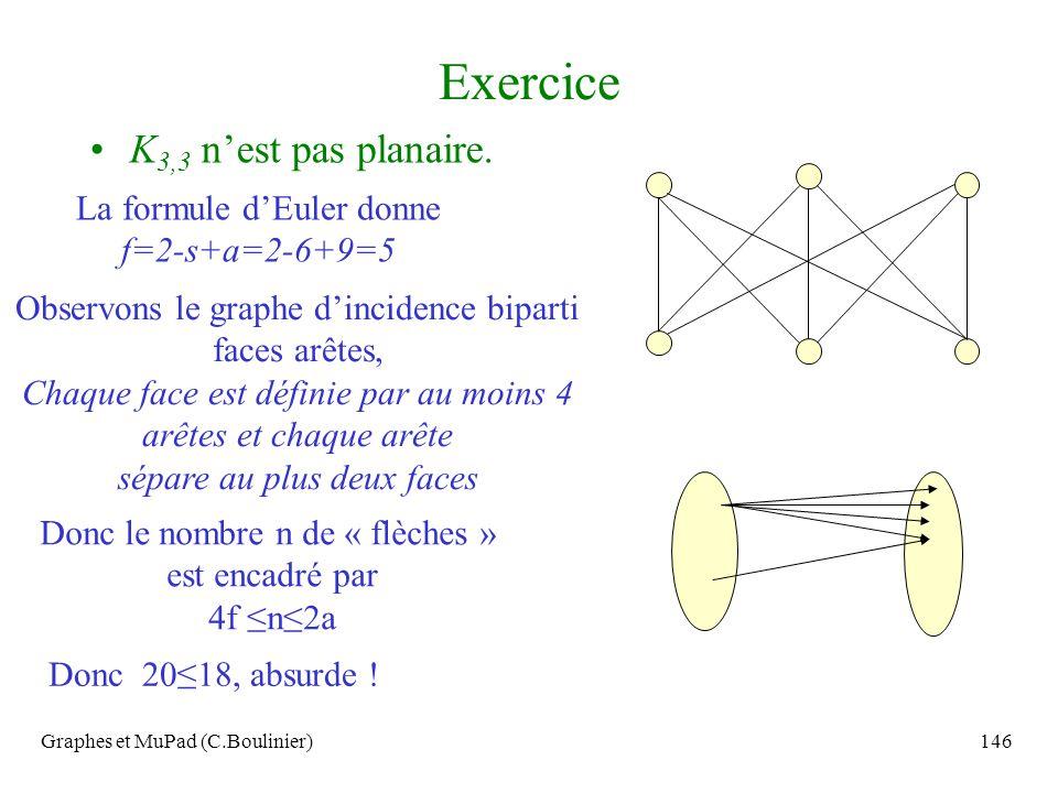 Exercice K3,3 n'est pas planaire.