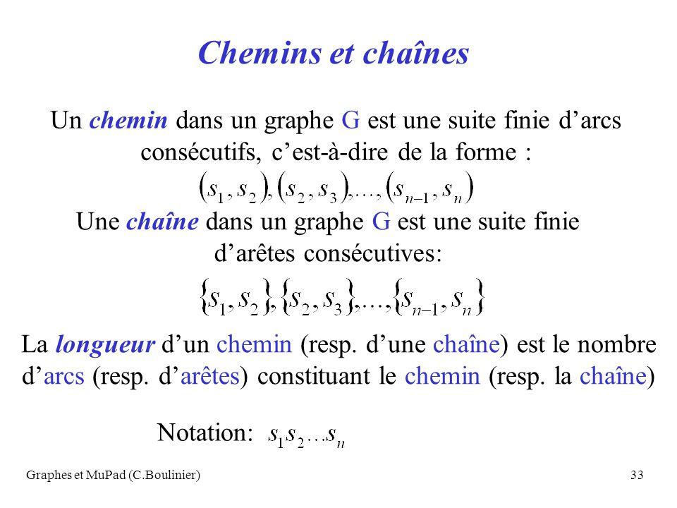 Chemins et chaînes Un chemin dans un graphe G est une suite finie d'arcs consécutifs, c'est-à-dire de la forme :
