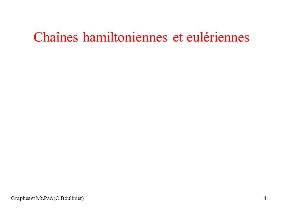 Chaînes hamiltoniennes et eulériennes