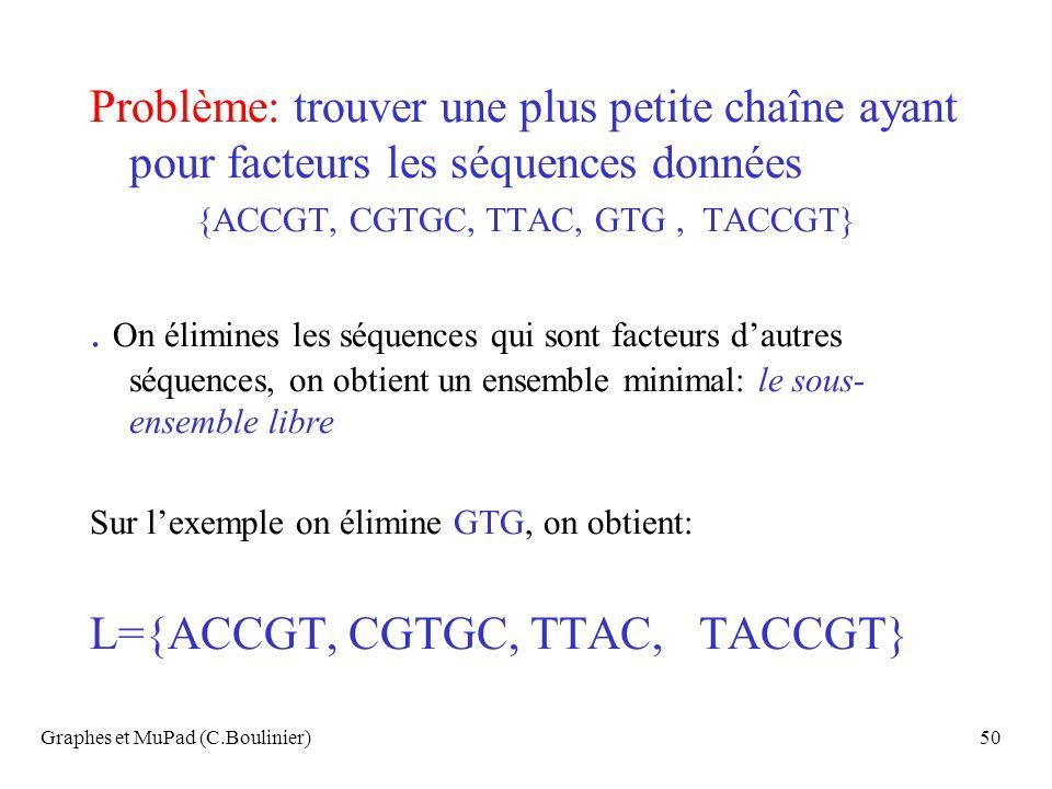 L={ACCGT, CGTGC, TTAC, TACCGT}