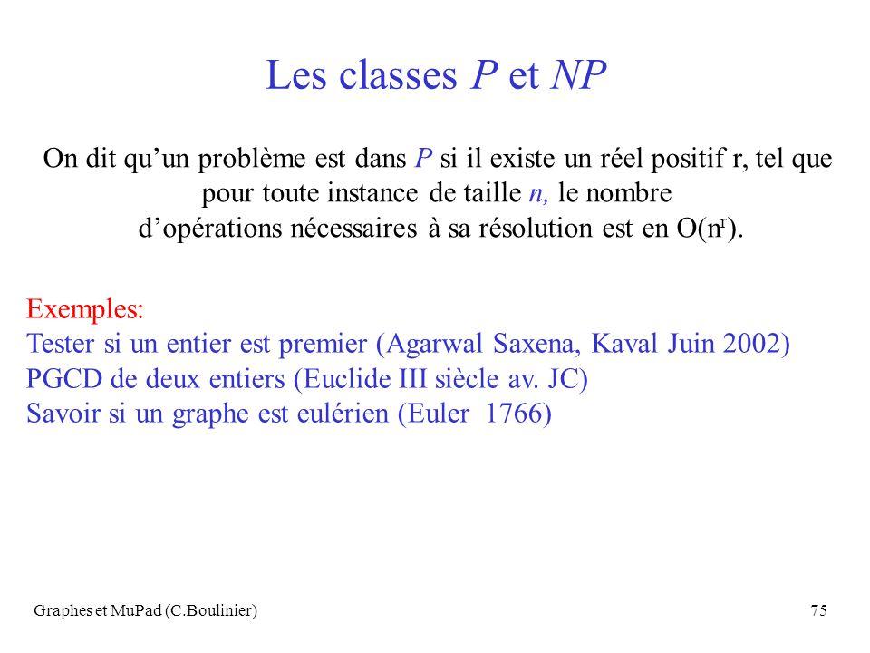 Les classes P et NP On dit qu'un problème est dans P si il existe un réel positif r, tel que. pour toute instance de taille n, le nombre.