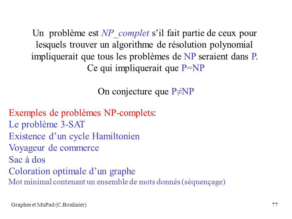 Un problème est NP_complet s'il fait partie de ceux pour