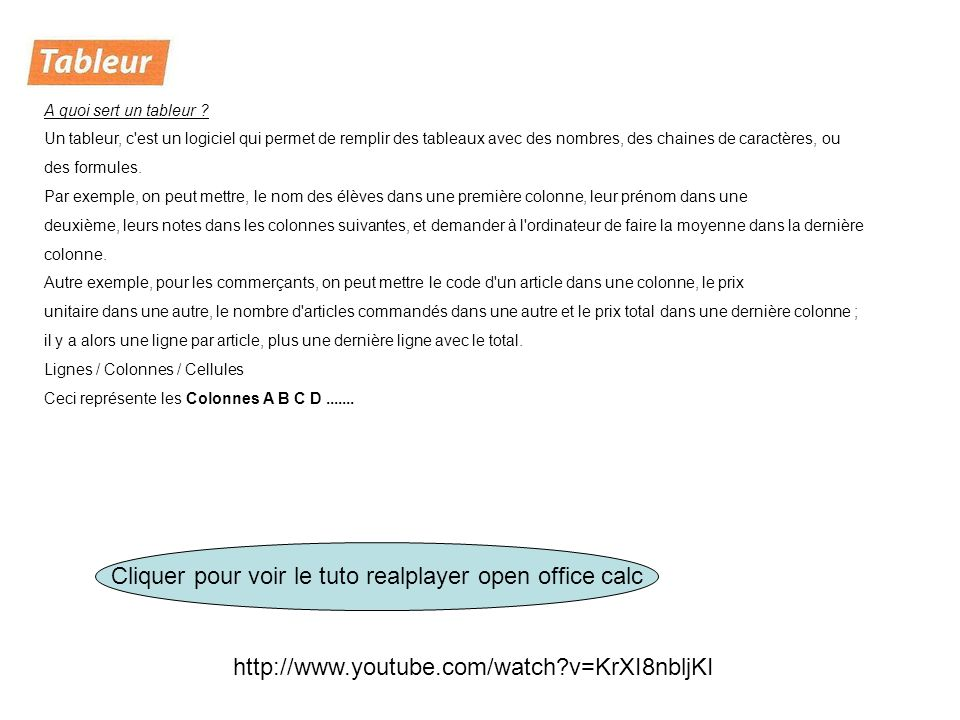Cliquer pour voir le tuto realplayer open office calc