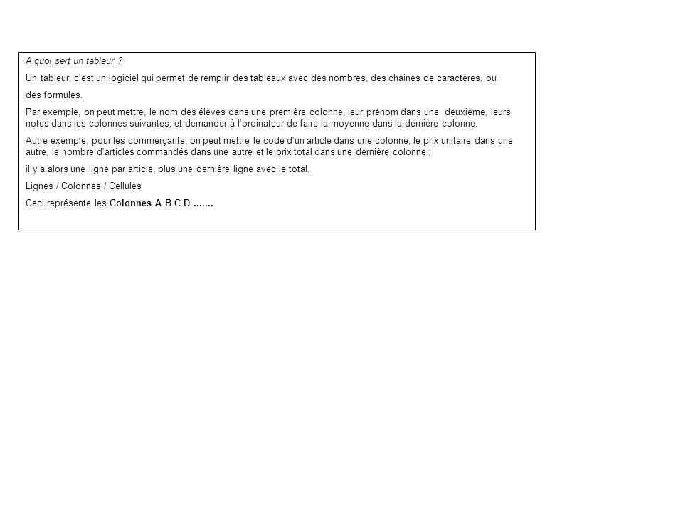 a quoi sert un tableur   un tableur  c u0026 39 est un logiciel qui