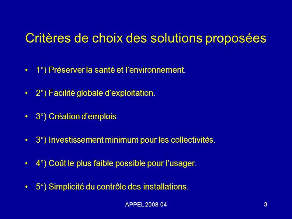 Critères de choix des solutions proposées