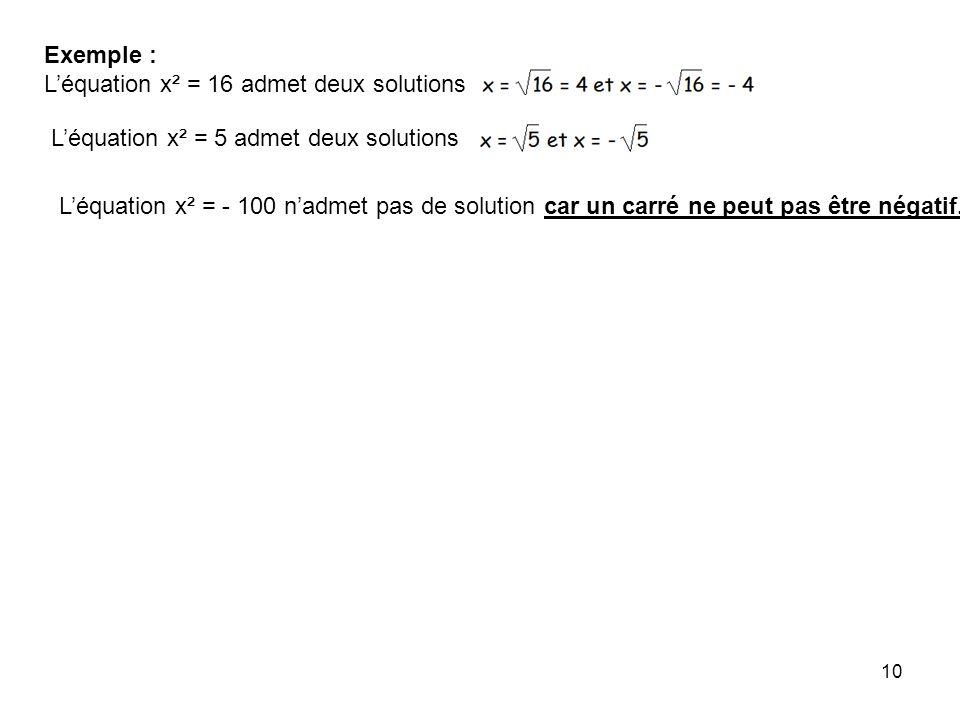 Exemple : L'équation x² = 16 admet deux solutions. L'équation x² = 5 admet deux solutions.