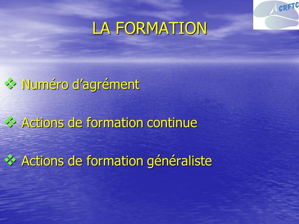 LA FORMATION Numéro d'agrément Actions de formation continue