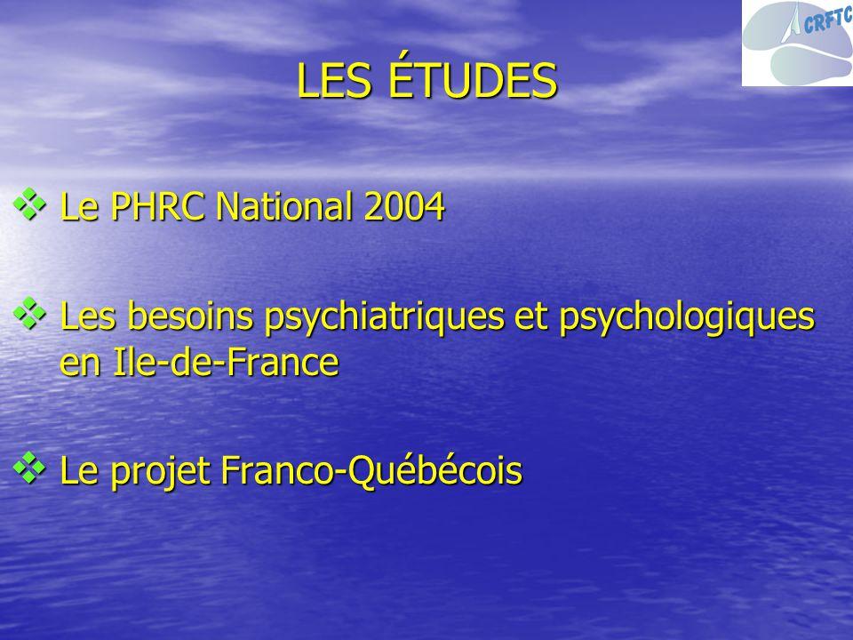LES ÉTUDES Le PHRC National 2004