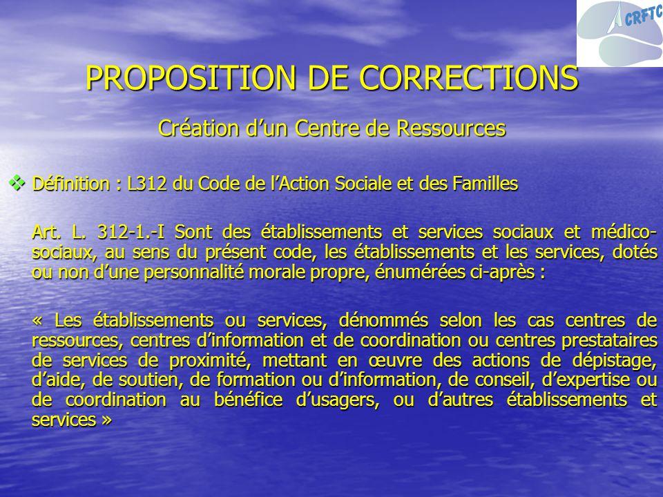 PROPOSITION DE CORRECTIONS