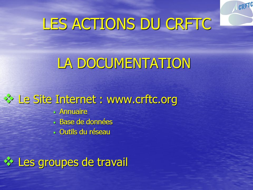 LES ACTIONS DU CRFTC LA DOCUMENTATION Le Site Internet : www.crftc.org
