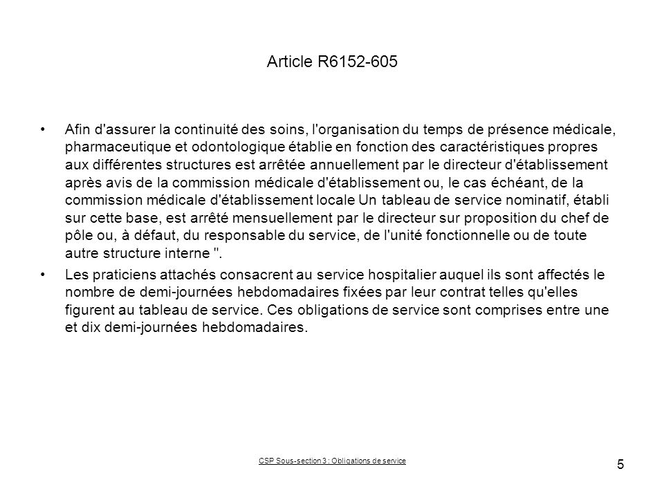 CSP Sous-section 3 : Obligations de service
