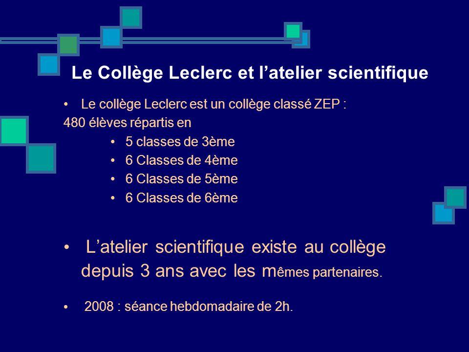 Le Collège Leclerc et l'atelier scientifique