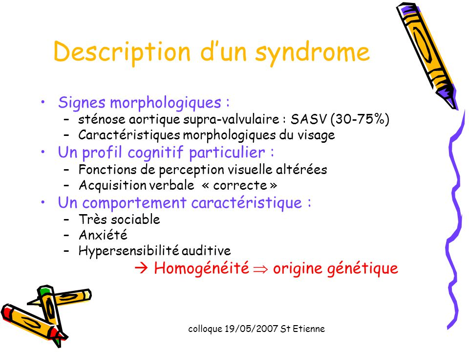 Description d'un syndrome