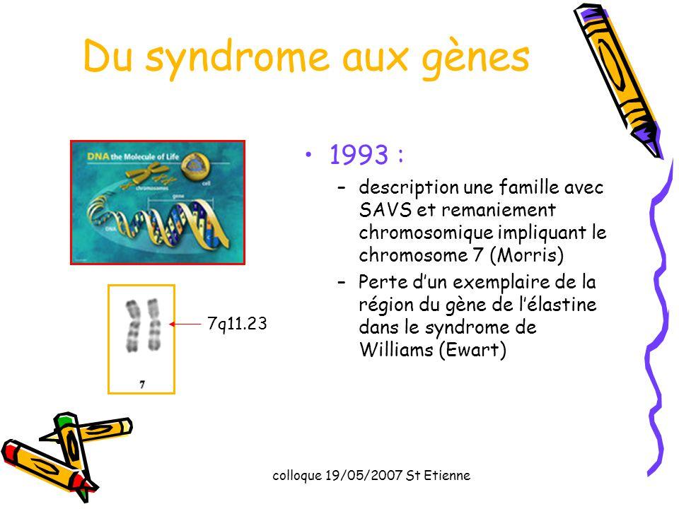 Du syndrome aux gènes 1993 : description une famille avec SAVS et remaniement chromosomique impliquant le chromosome 7 (Morris)