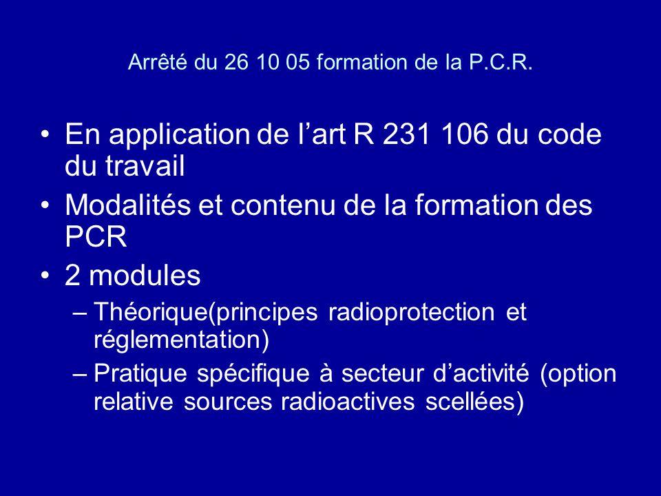 Arrêté du 26 10 05 formation de la P.C.R.