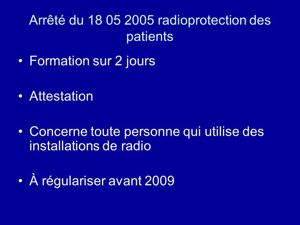 Arrêté du 18 05 2005 radioprotection des patients