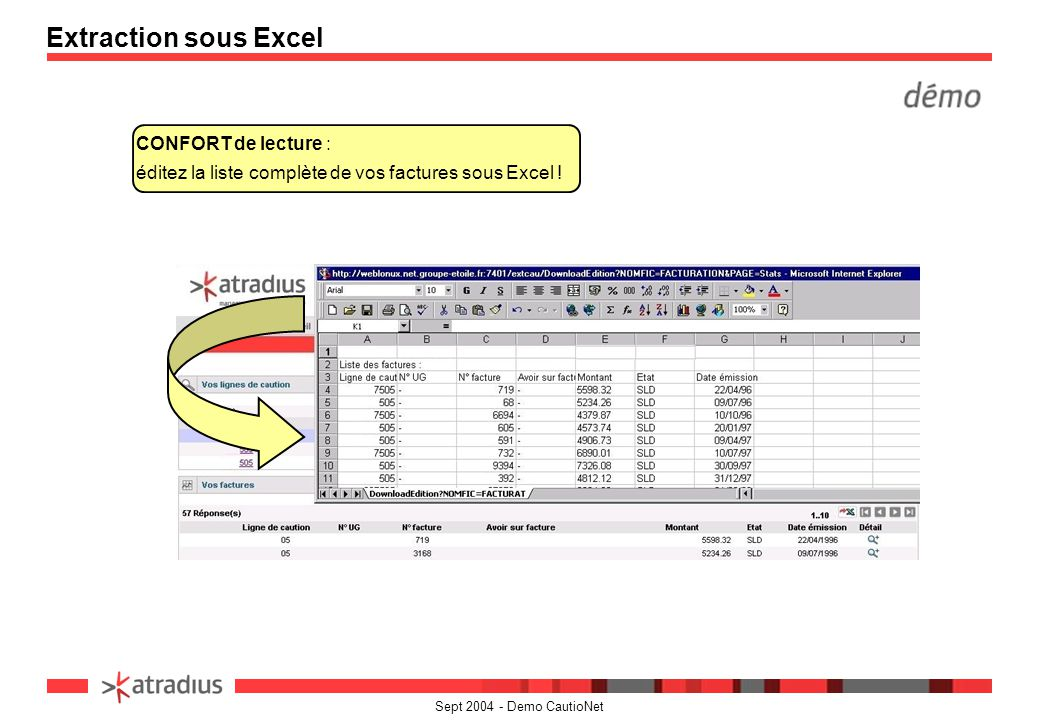 Extraction sous Excel CONFORT de lecture : éditez la liste complète de vos factures sous Excel !
