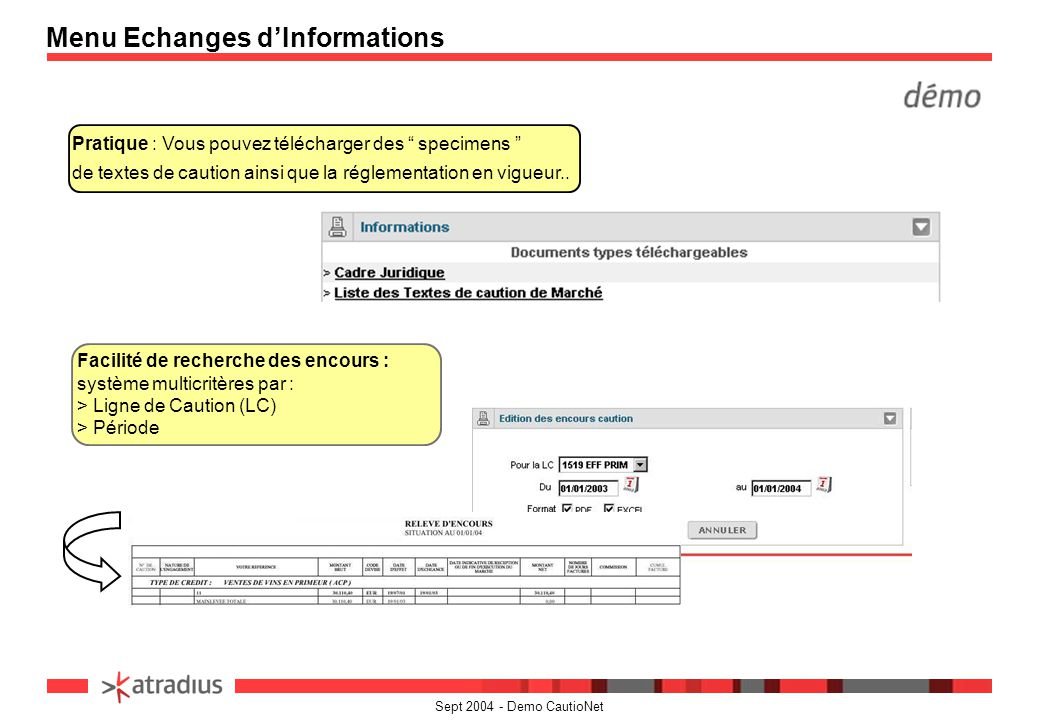 Menu Echanges d'Informations