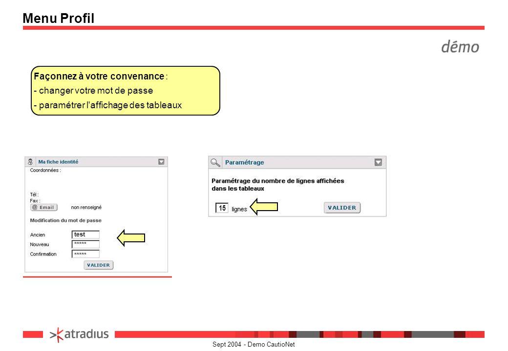 Menu Profil Façonnez à votre convenance : - changer votre mot de passe