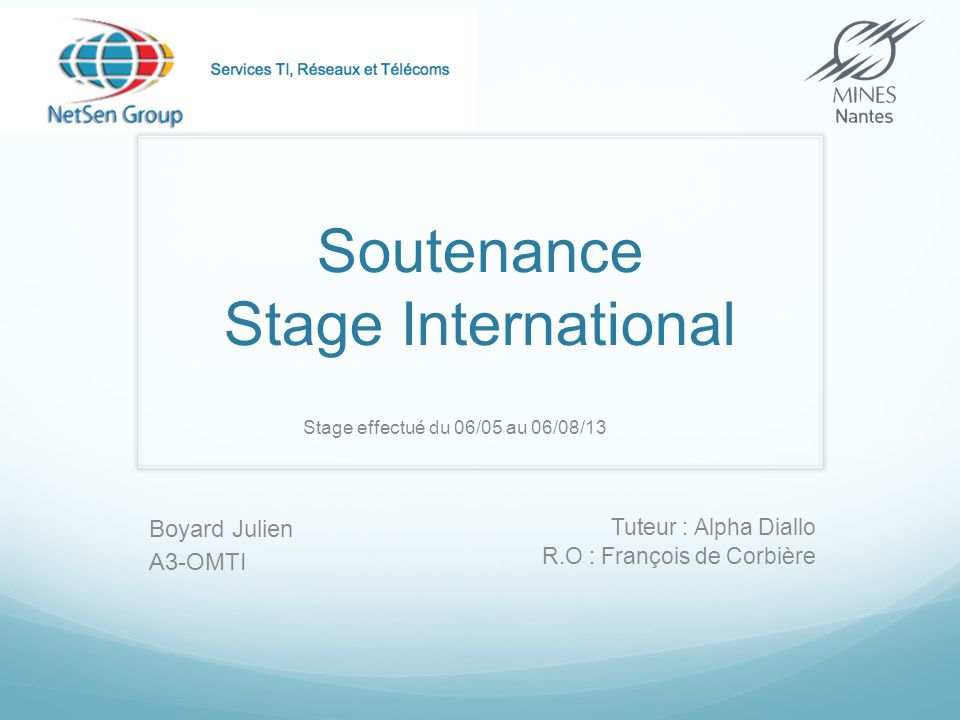 Soutenance Stage International