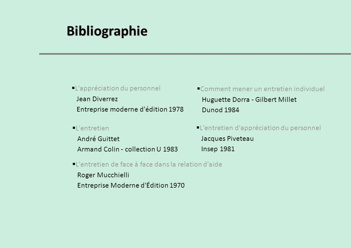 Bibliographie L appréciation du personnel Jean Diverrez
