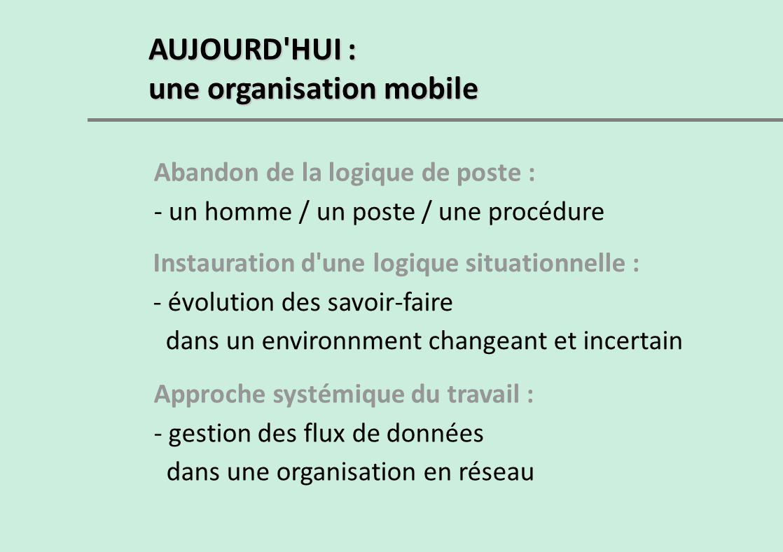 une organisation mobile