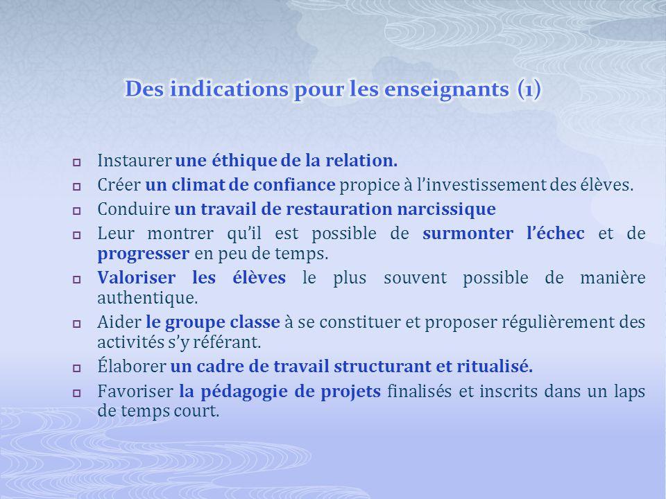 Des indications pour les enseignants (1)