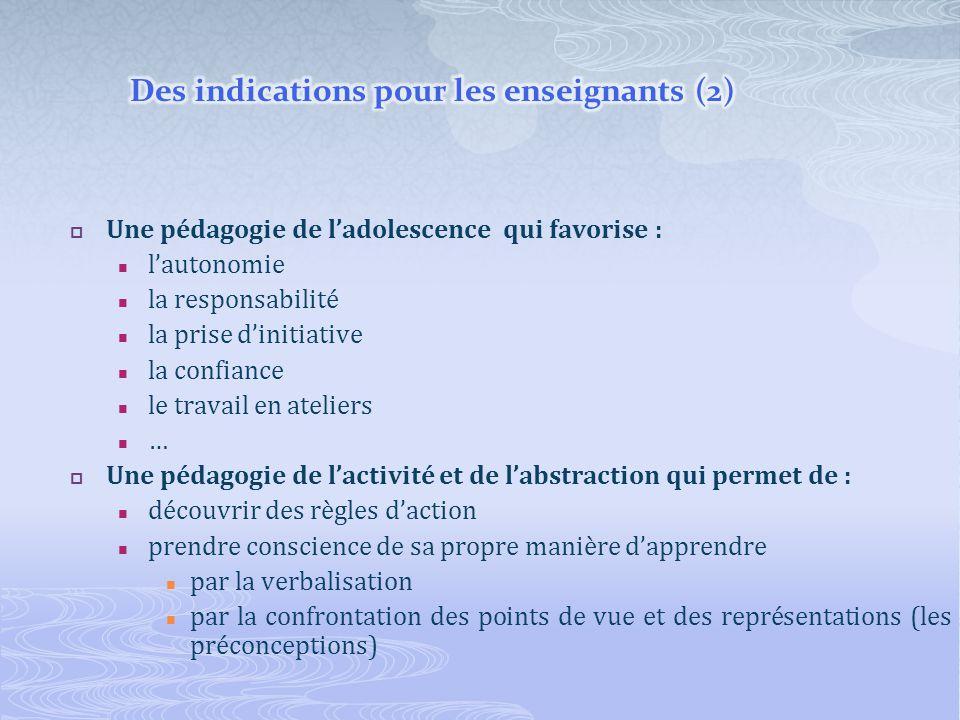 Des indications pour les enseignants (2)