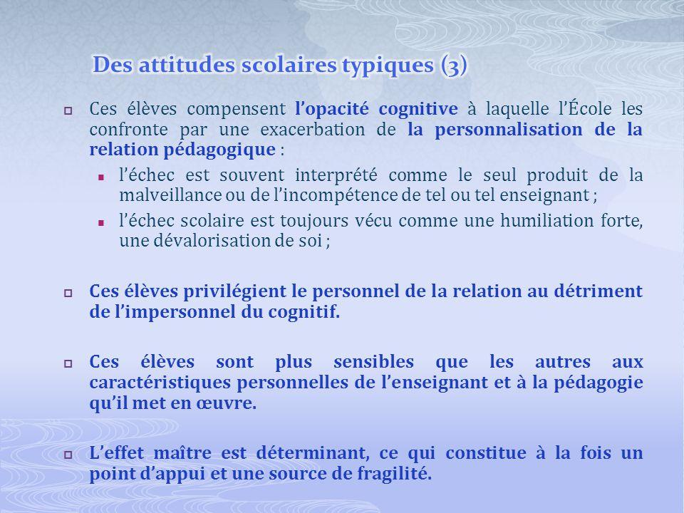 Des attitudes scolaires typiques (3)