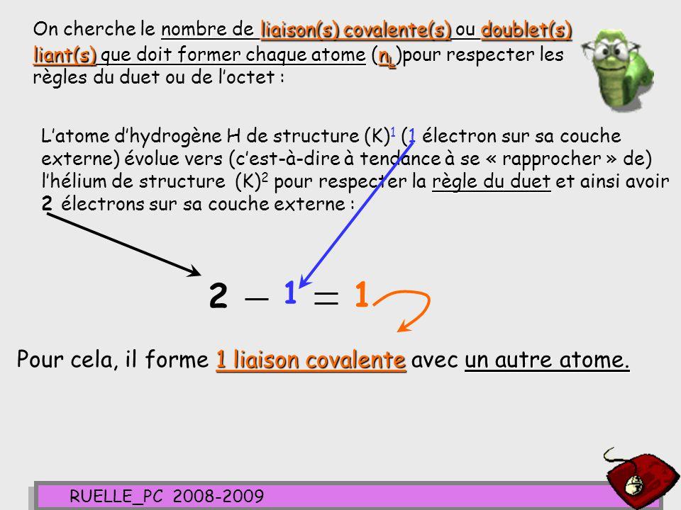 On cherche le nombre de liaison(s) covalente(s) ou doublet(s) liant(s) que doit former chaque atome (nL)pour respecter les règles du duet ou de l'octet :