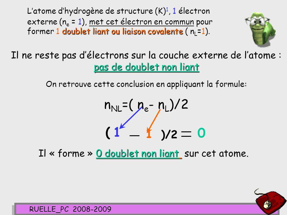 L'atome d'hydrogène de structure (K)1, 1 électron externe (ne = 1), met cet électron en commun pour former 1 doublet liant ou liaison covalente ( nL=1).