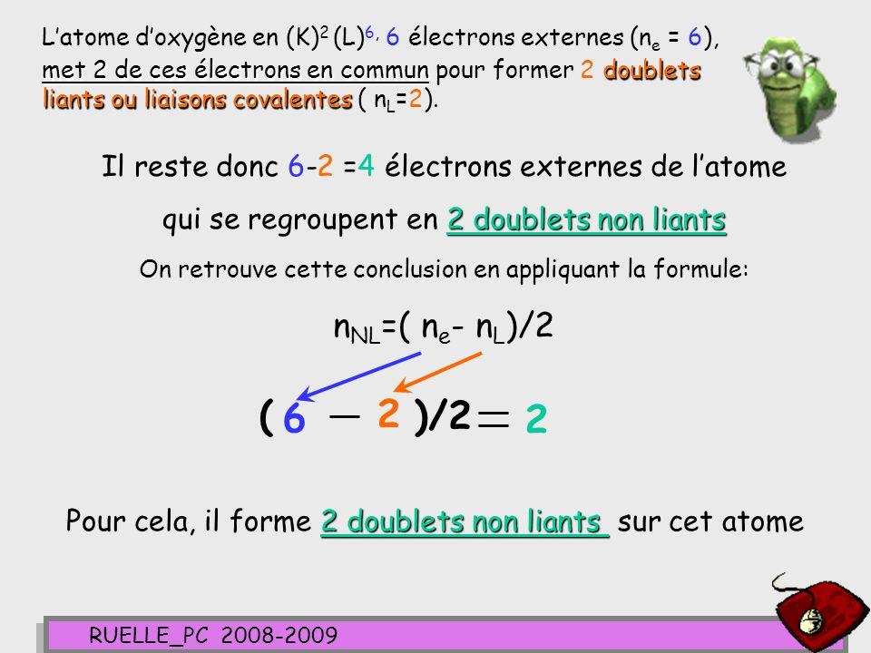 L'atome d'oxygène en (K)2 (L)6, 6 électrons externes (ne = 6), met 2 de ces électrons en commun pour former 2 doublets liants ou liaisons covalentes ( nL=2).