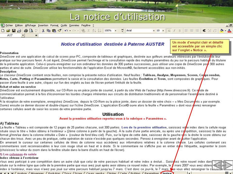 La notice d'utilisation