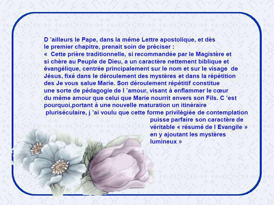 D 'ailleurs le Pape, dans la même Lettre apostolique, et dès