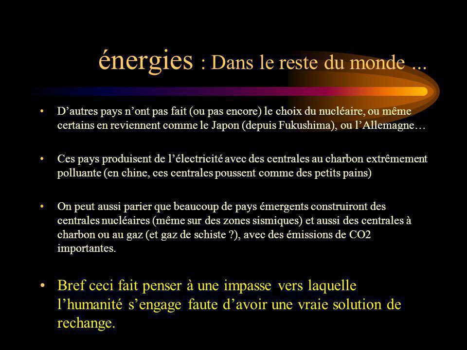 énergies : Dans le reste du monde ...