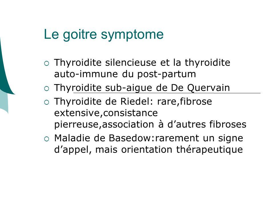 Le goitre symptome Thyroidite silencieuse et la thyroidite auto-immune du post-partum. Thyroidite sub-aigue de De Quervain.