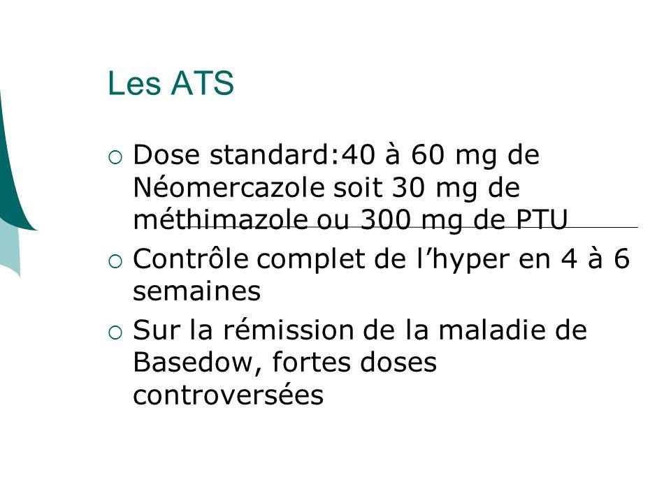 Les ATS Dose standard:40 à 60 mg de Néomercazole soit 30 mg de méthimazole ou 300 mg de PTU. Contrôle complet de l'hyper en 4 à 6 semaines.