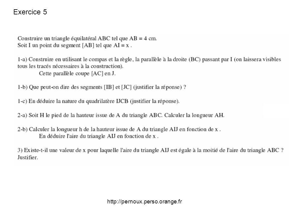 Exercice 5 http://pernoux.perso.orange.fr