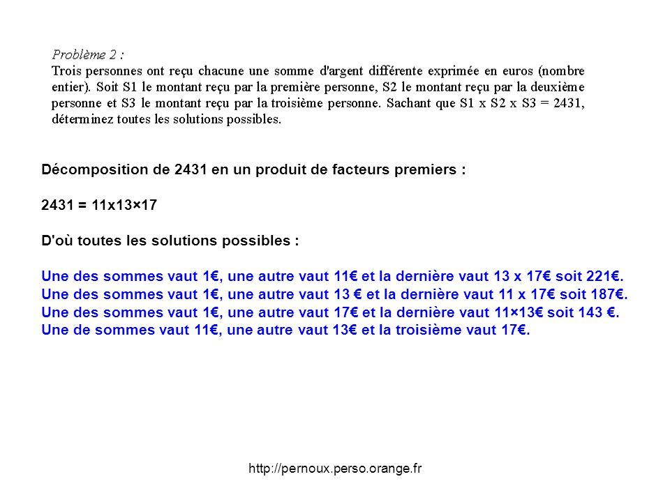 Décomposition de 2431 en un produit de facteurs premiers :