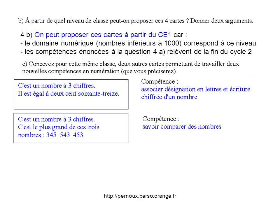 4 b) On peut proposer ces cartes à partir du CE1 car :