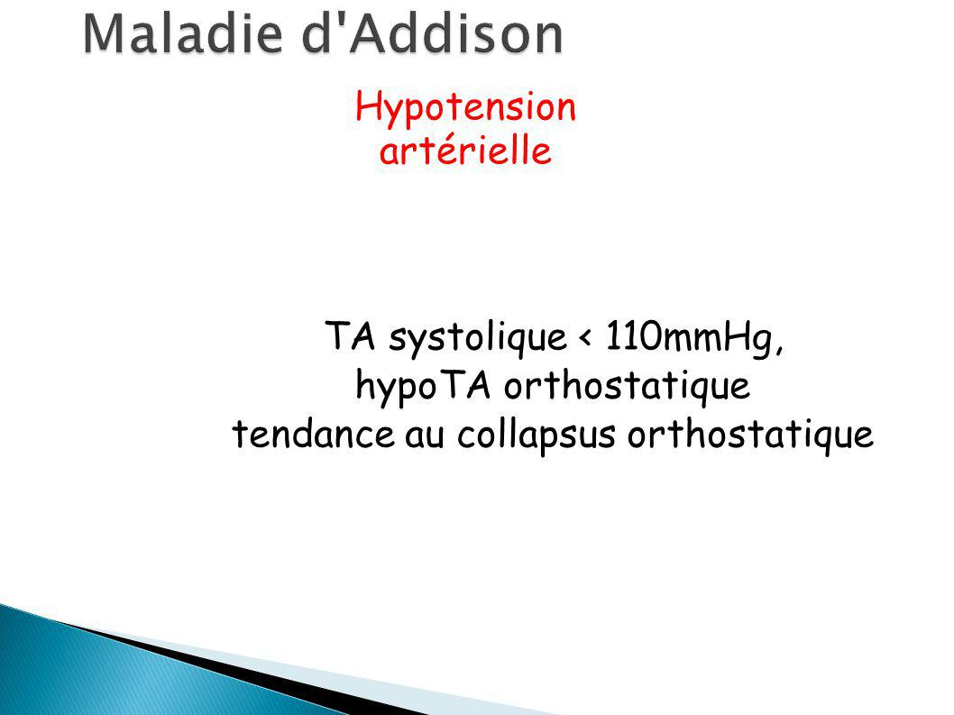 Maladie d Addison Hypotension artérielle TA systolique < 110mmHg,