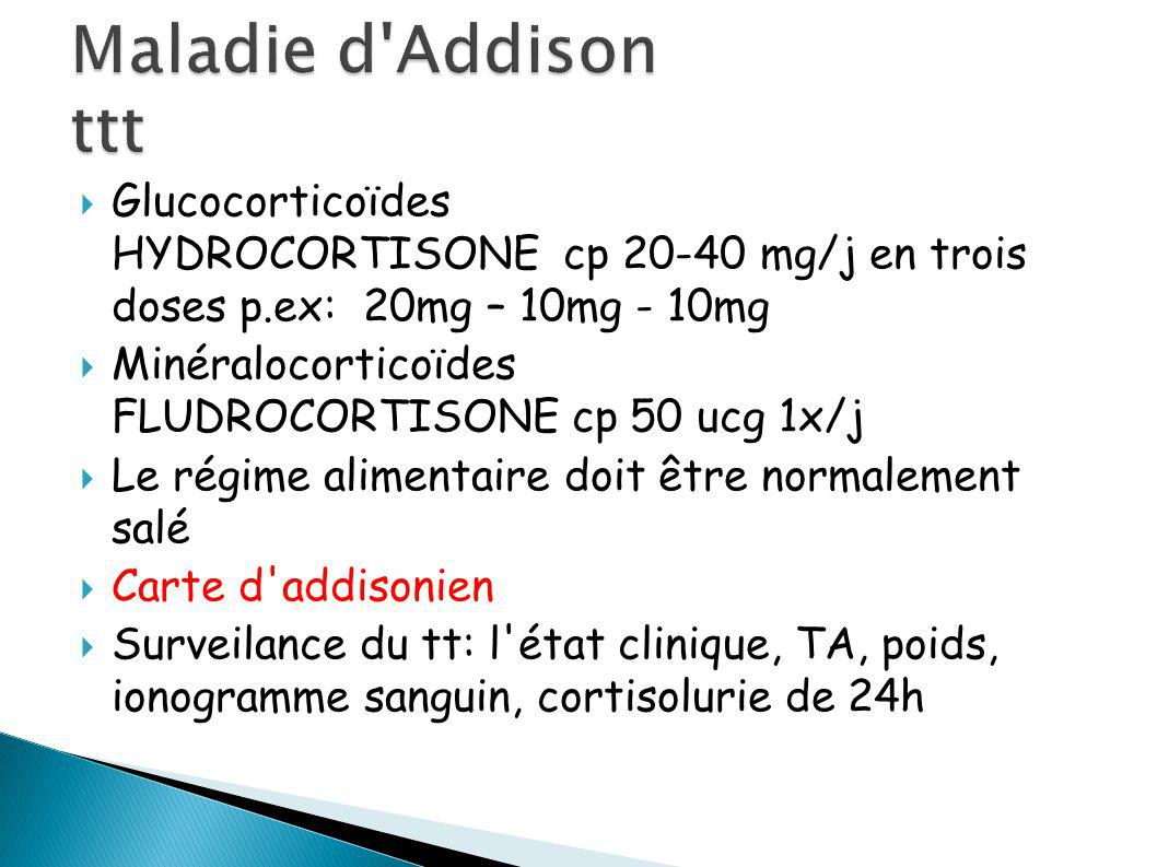 Maladie d Addison ttt Glucocorticoïdes HYDROCORTISONE cp 20-40 mg/j en trois doses p.ex: 20mg – 10mg - 10mg.