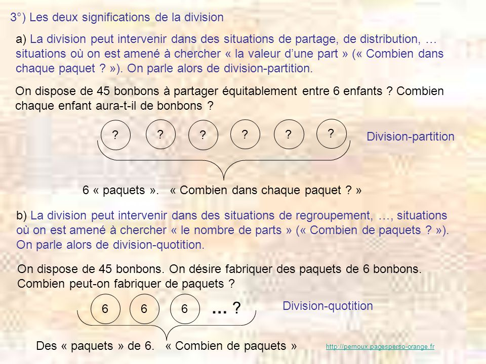 … 3°) Les deux significations de la division