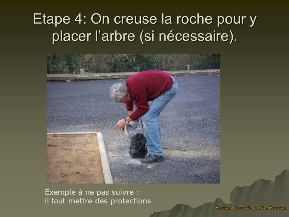 Etape 4: On creuse la roche pour y placer l'arbre (si nécessaire).