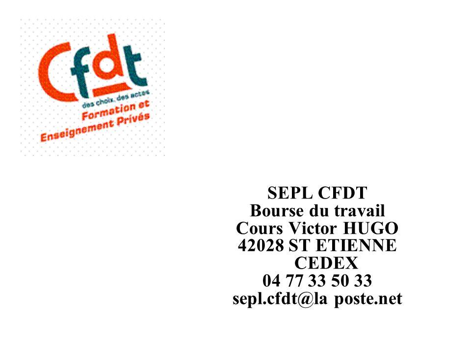 SEPL CFDT Bourse du travail. Cours Victor HUGO. 42028 ST ETIENNE CEDEX.